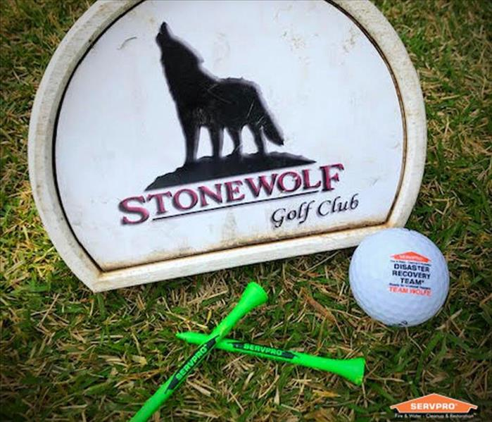 A Golf Club Marker with two golf tees and a SERVPRO golf ball near the marker on the grass.