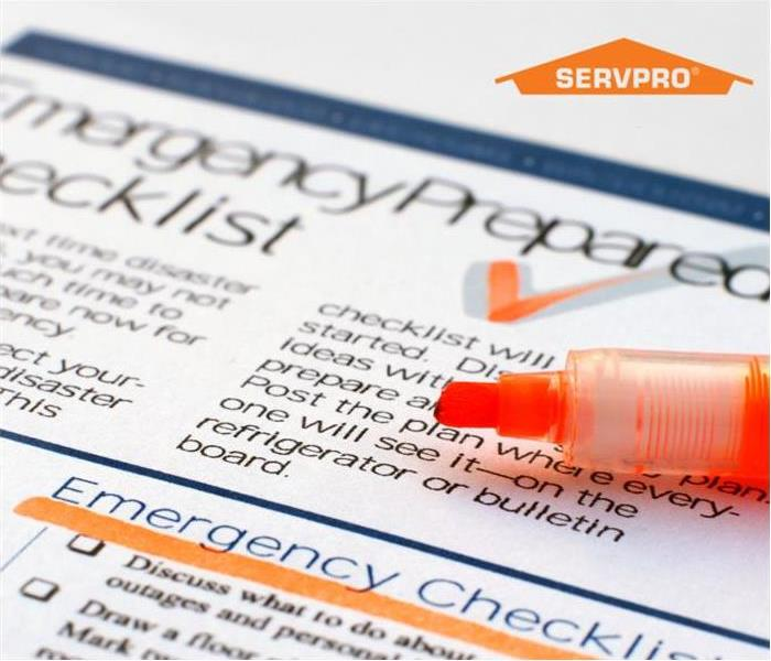 an emergency checklist with a orange highlighter pen